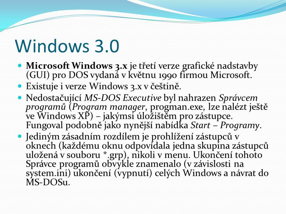 Windows 3.0 Microsoft Windows 3.x je třetí verze grafické nadstavby (GUI) pro DOS vydaná v květnu 1990 firmou Microsoft.