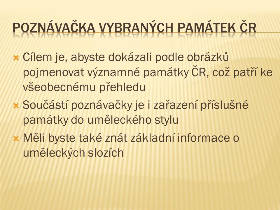 Poznávačka vybraných památek ČR