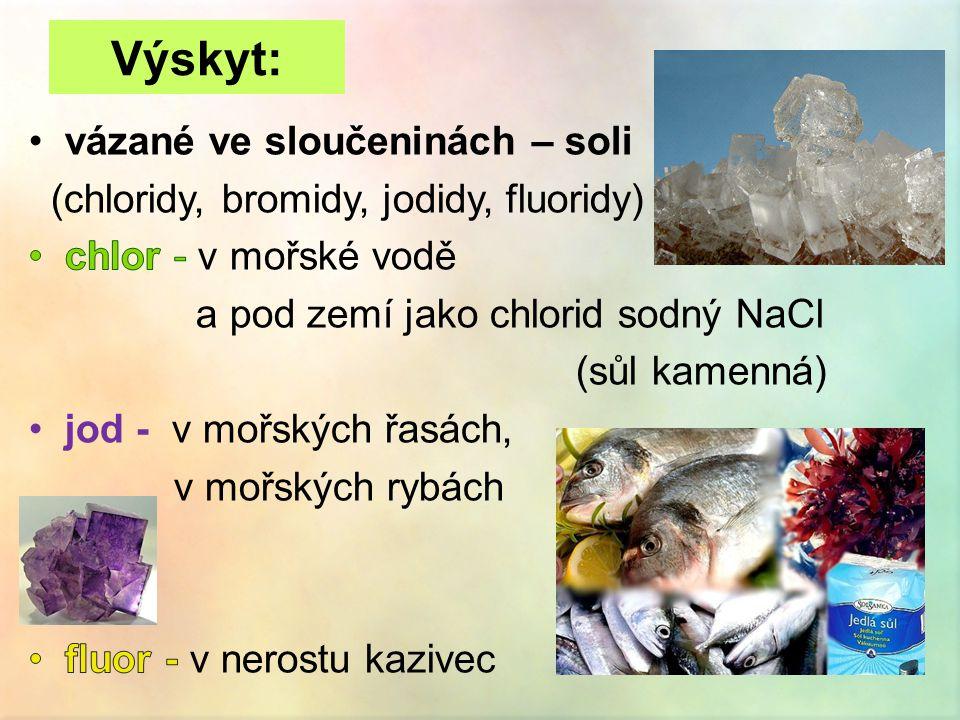 Výskyt: vázané ve sloučeninách – soli