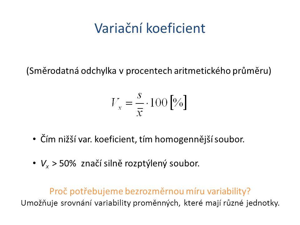 Variační koeficient (Směrodatná odchylka v procentech aritmetického průměru) Čím nižší var. koeficient, tím homogennější soubor.