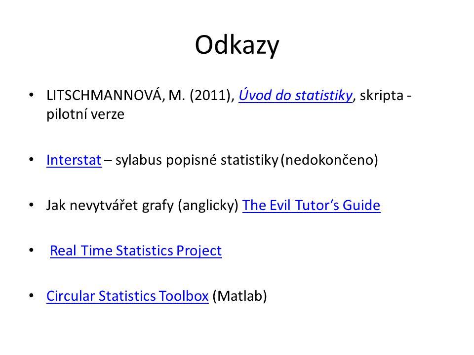 Odkazy Litschmannová, M. (2011), Úvod do statistiky, skripta - pilotní verze. Interstat – sylabus popisné statistiky (nedokončeno)