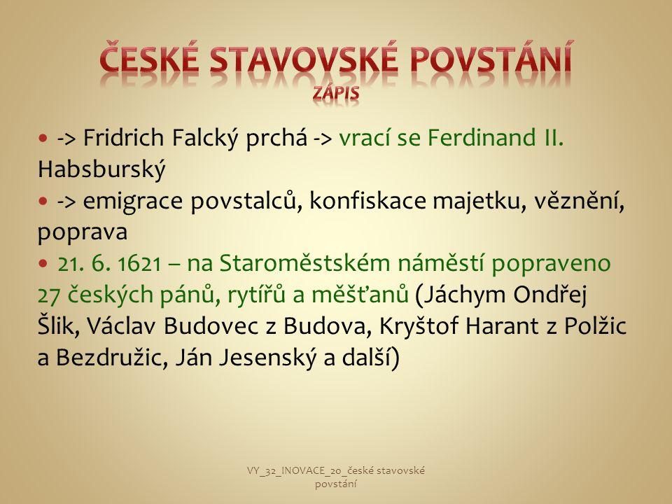 České stavovské povstání zápis