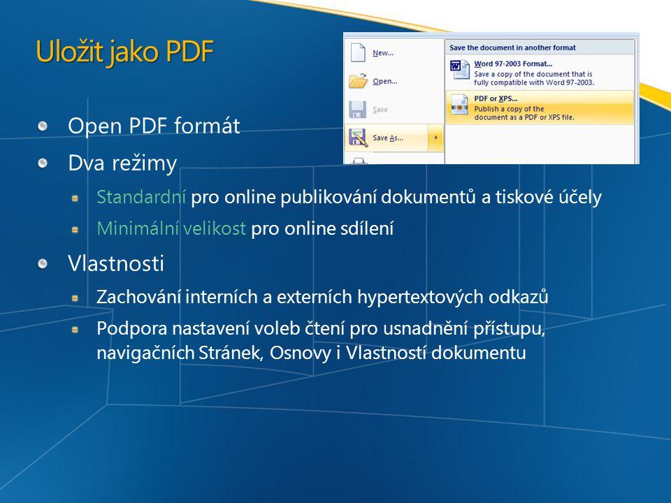 Uložit jako PDF Open PDF formát Dva režimy Vlastnosti