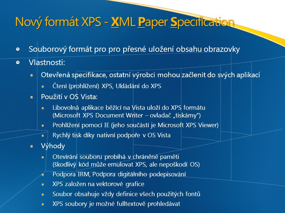 Nový formát XPS - XML Paper Specification