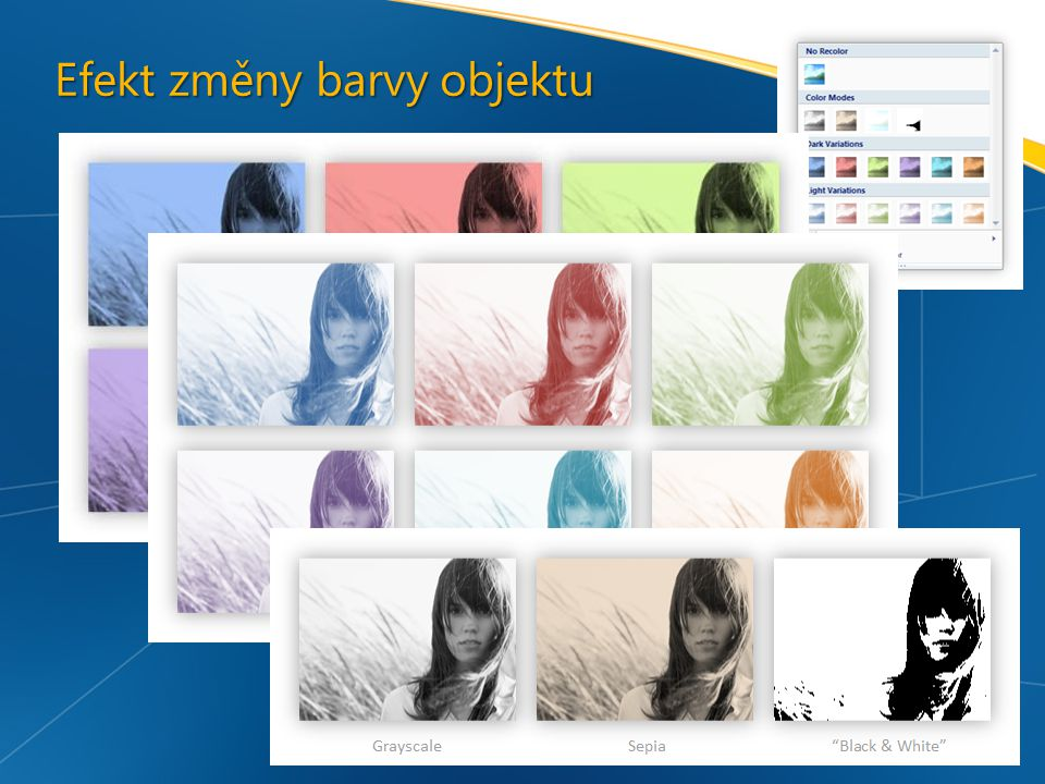 Efekt změny barvy objektu