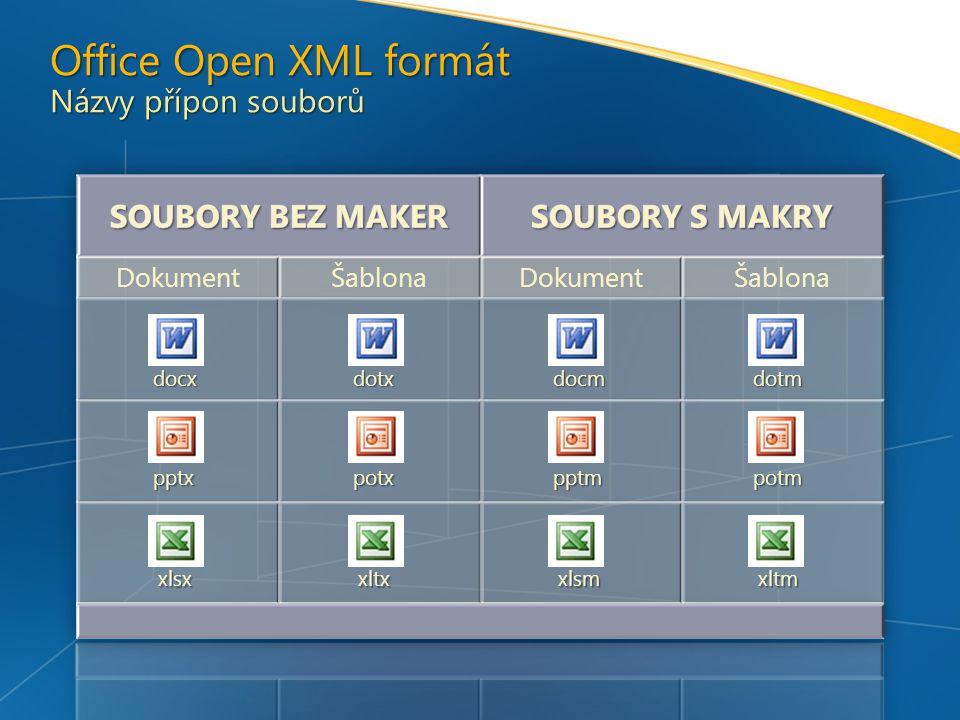 Office Open XML formát Názvy přípon souborů