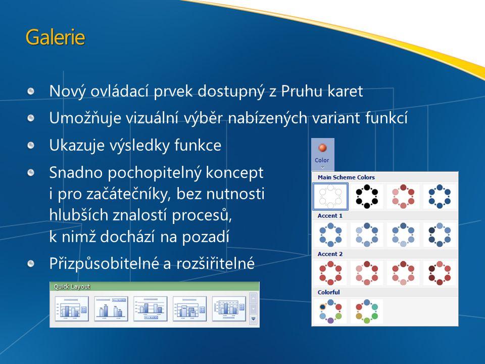 Galerie Nový ovládací prvek dostupný z Pruhu karet