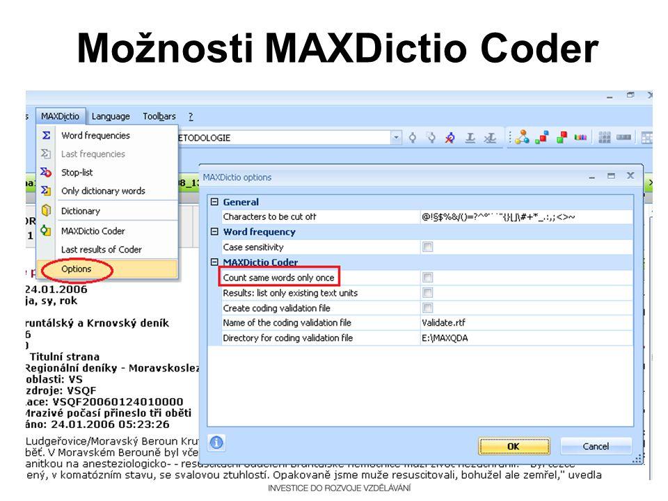 Možnosti MAXDictio Coder