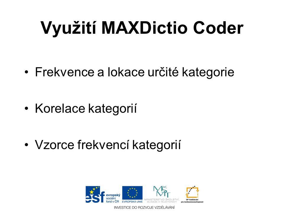 Využití MAXDictio Coder