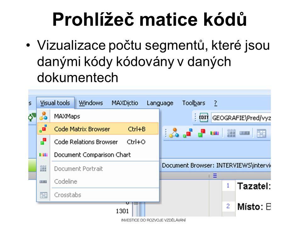 Prohlížeč matice kódů Vizualizace počtu segmentů, které jsou danými kódy kódovány v daných dokumentech.