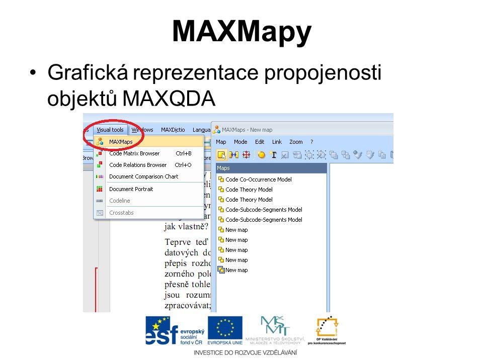 MAXMapy Grafická reprezentace propojenosti objektů MAXQDA