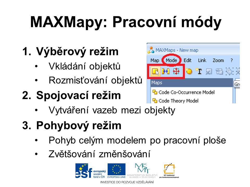 MAXMapy: Pracovní módy