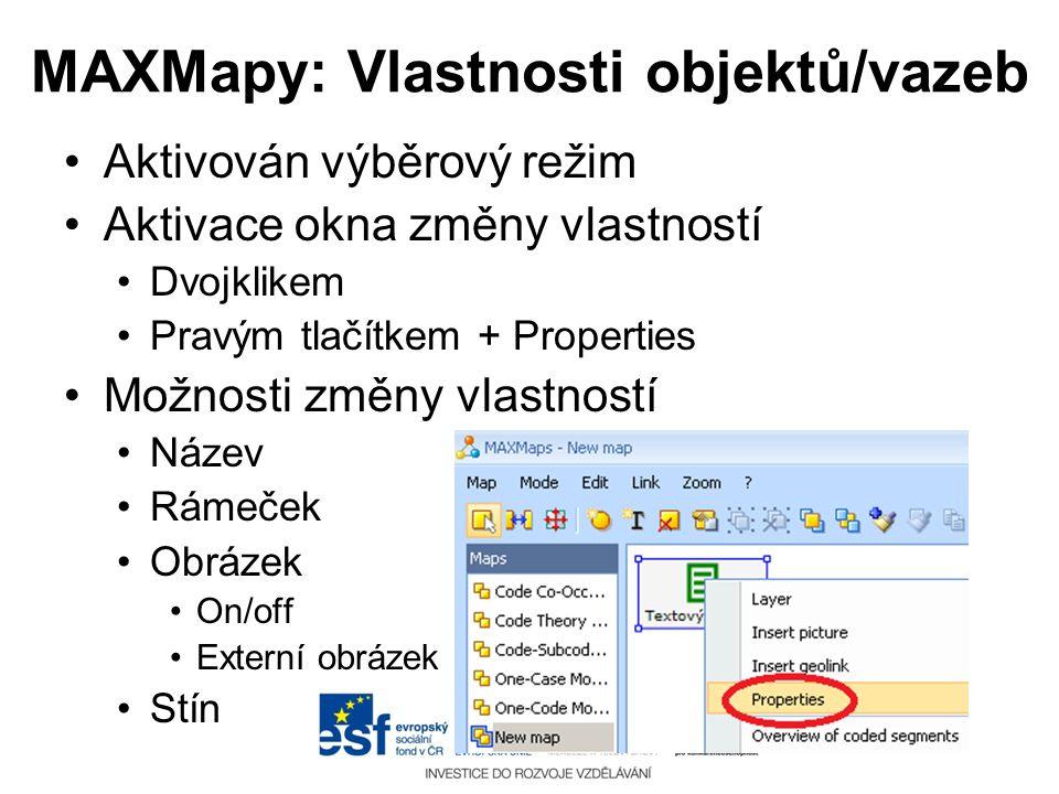 MAXMapy: Vlastnosti objektů/vazeb