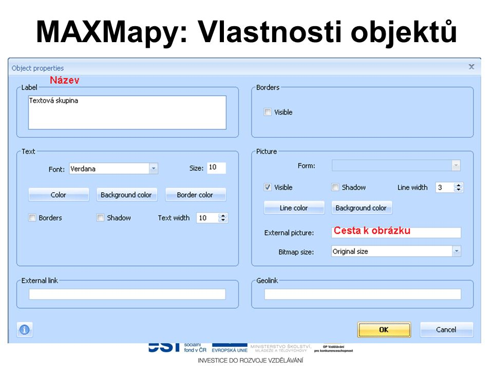MAXMapy: Vlastnosti objektů