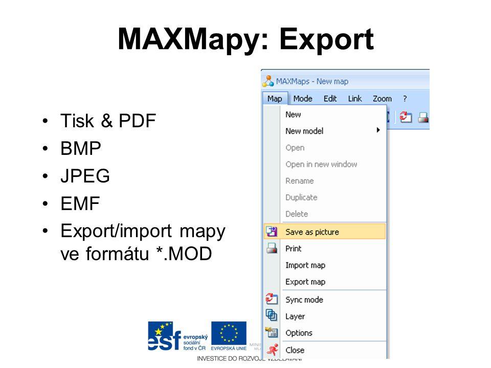 MAXMapy: Export Tisk & PDF BMP JPEG EMF