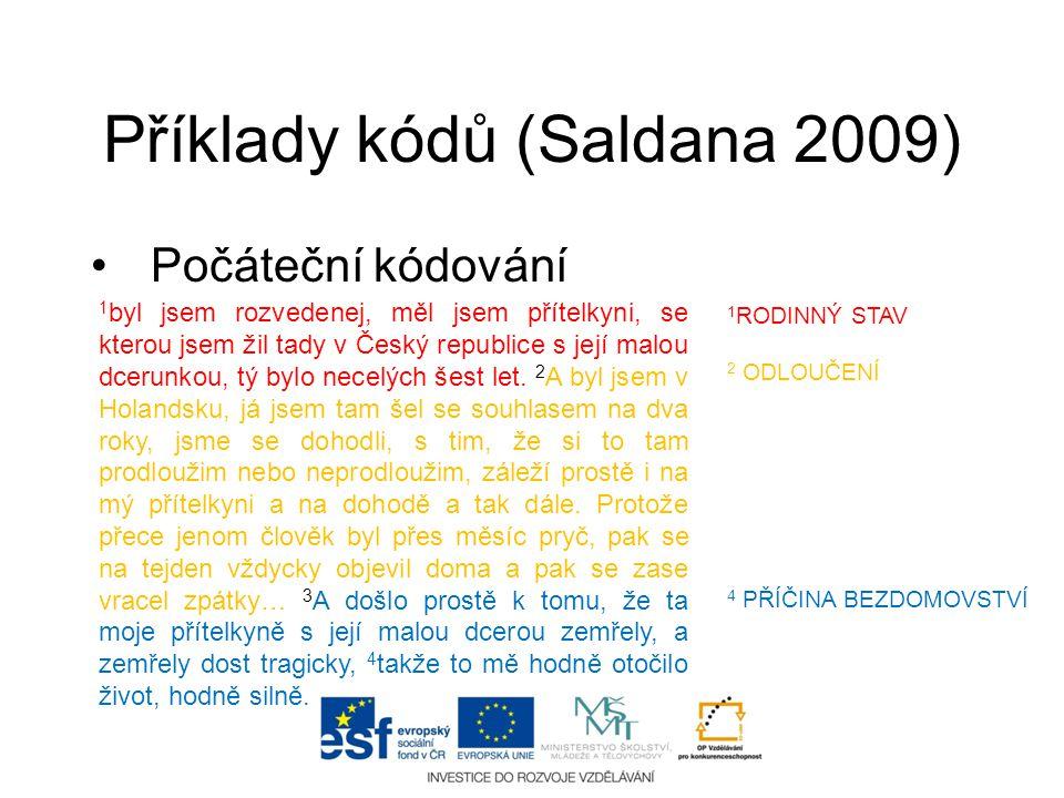 Příklady kódů (Saldana 2009)