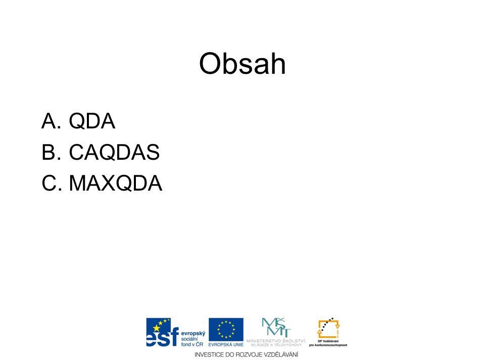 Obsah QDA CAQDAS MAXQDA
