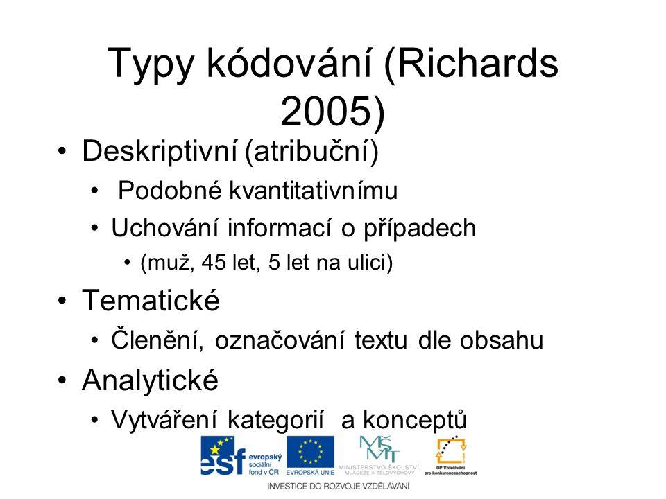 Typy kódování (Richards 2005)