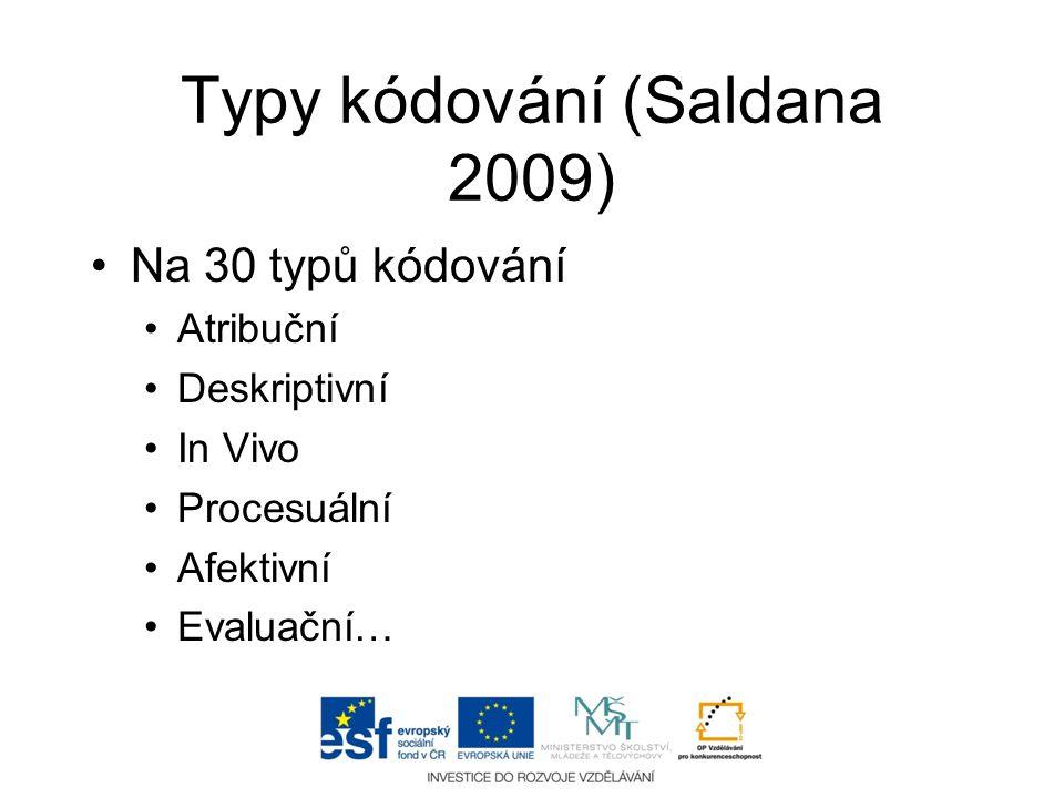 Typy kódování (Saldana 2009)