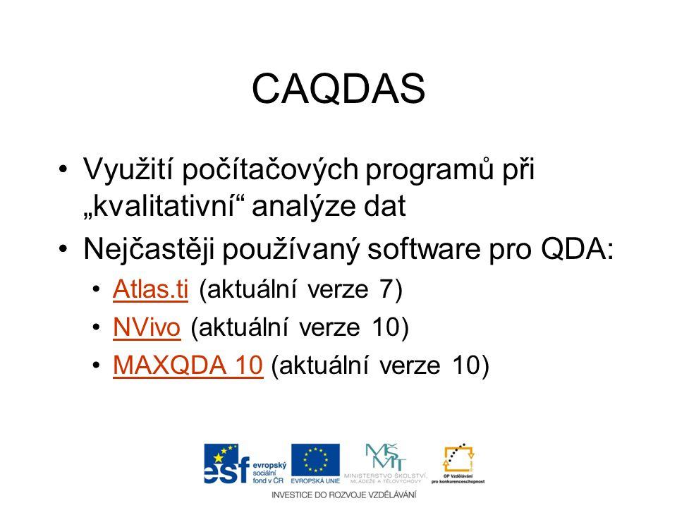 """CAQDAS Využití počítačových programů při """"kvalitativní analýze dat"""