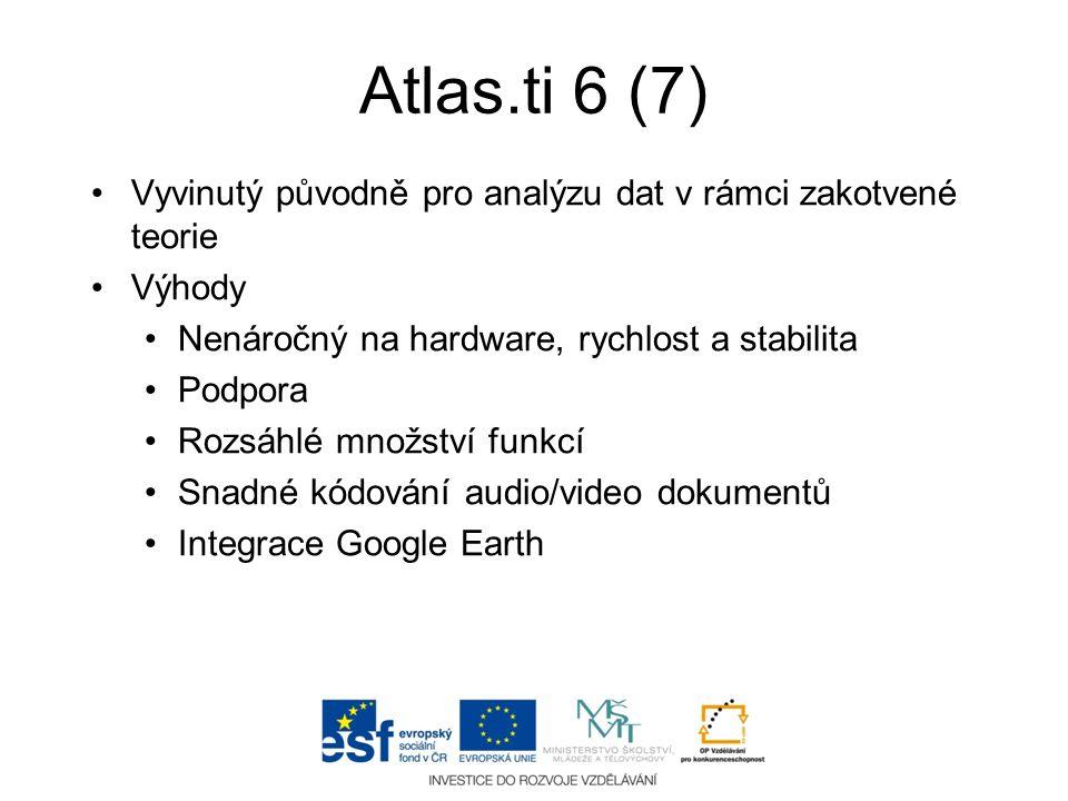 Atlas.ti 6 (7) Vyvinutý původně pro analýzu dat v rámci zakotvené teorie. Výhody. Nenáročný na hardware, rychlost a stabilita.