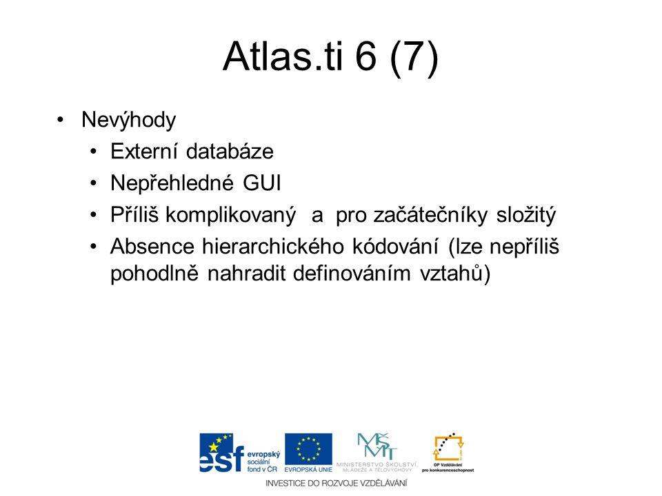 Atlas.ti 6 (7) Nevýhody Externí databáze Nepřehledné GUI