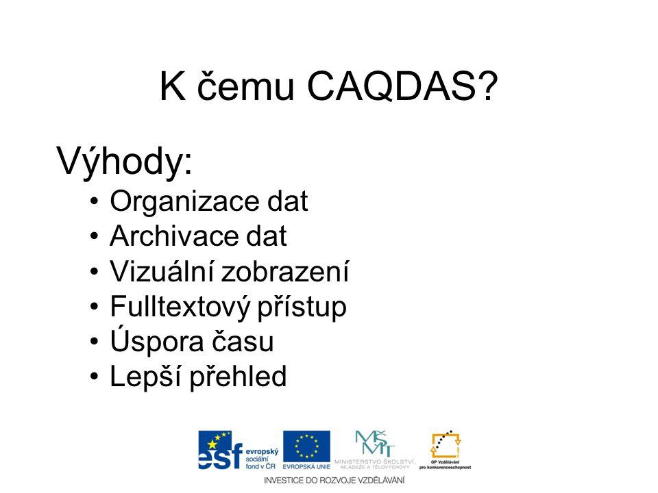 K čemu CAQDAS Výhody: Organizace dat Archivace dat Vizuální zobrazení