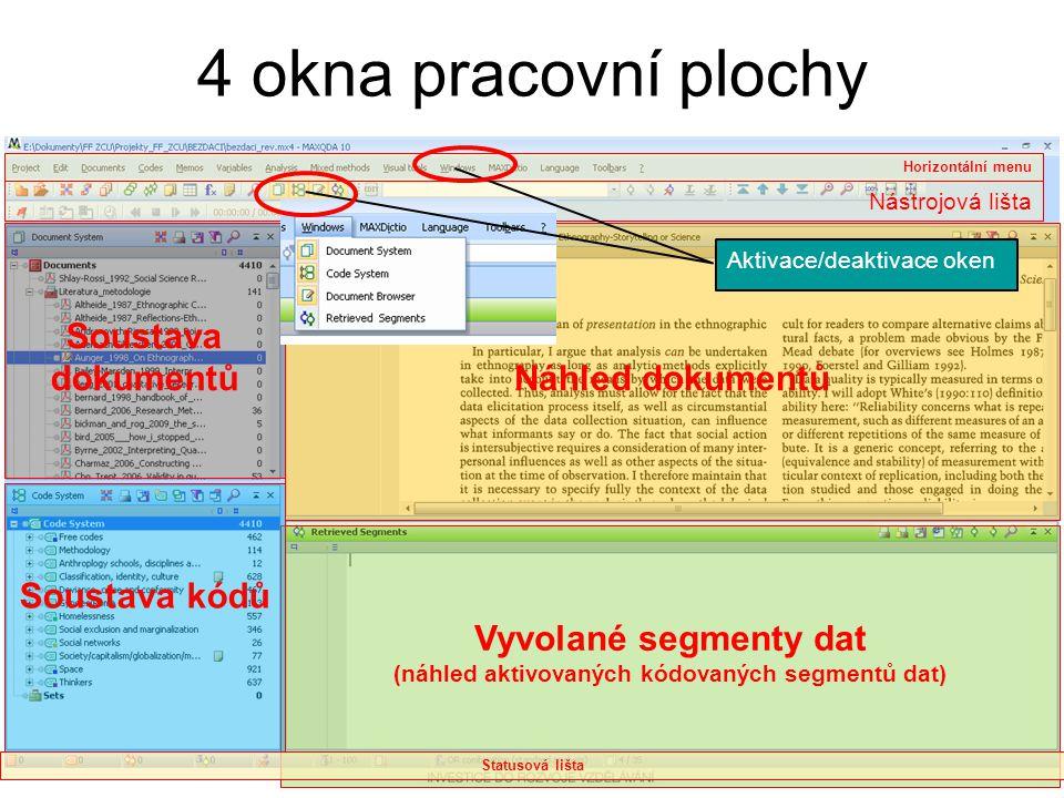(náhled aktivovaných kódovaných segmentů dat)