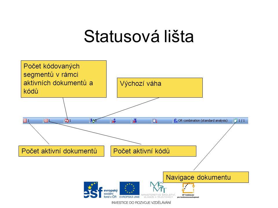 Statusová lišta Počet kódovaných segmentů v rámci aktivních dokumentů a kódů. Výchozí váha. Počet aktivní dokumentů.