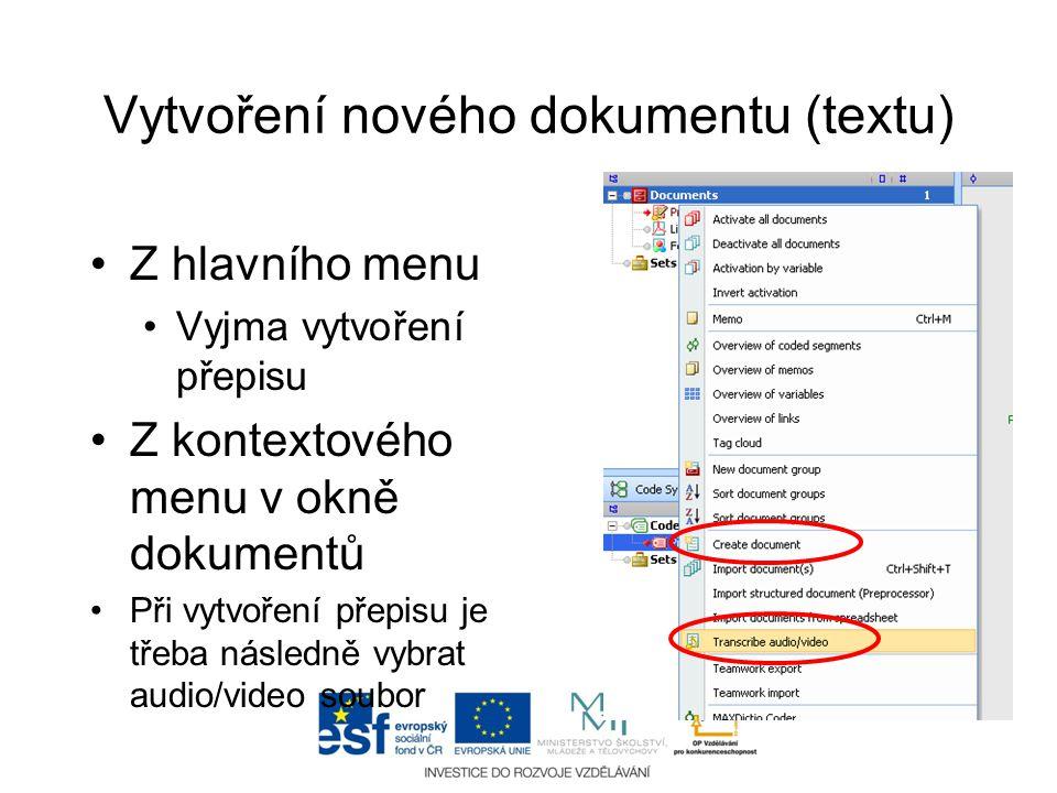 Vytvoření nového dokumentu (textu)