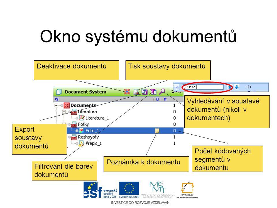 Okno systému dokumentů