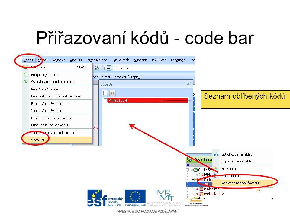 Přiřazovaní kódů - code bar