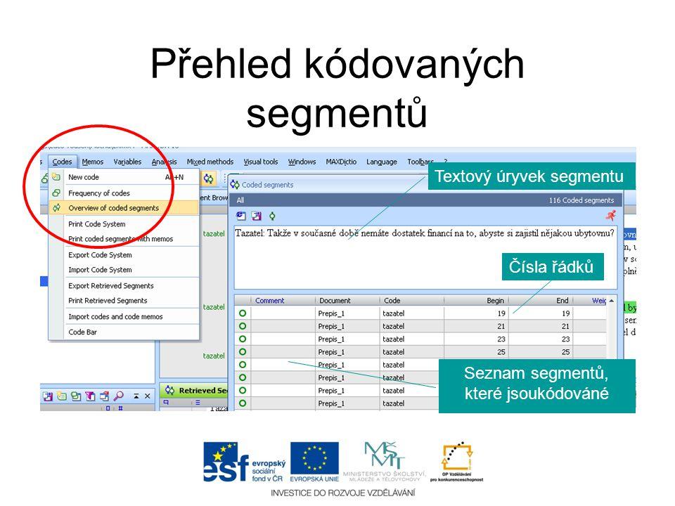Přehled kódovaných segmentů