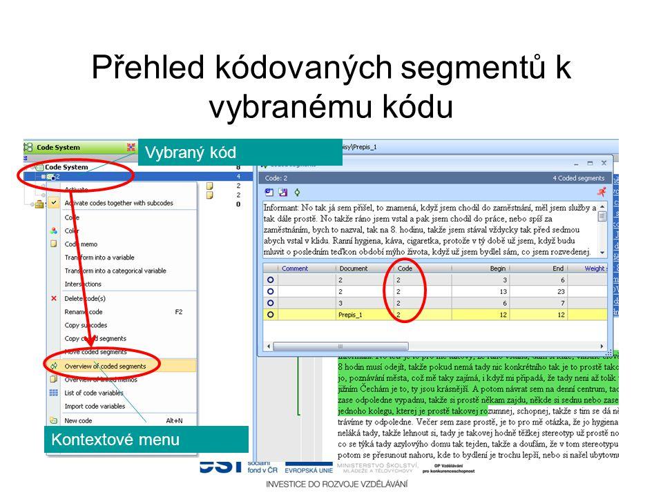 Přehled kódovaných segmentů k vybranému kódu