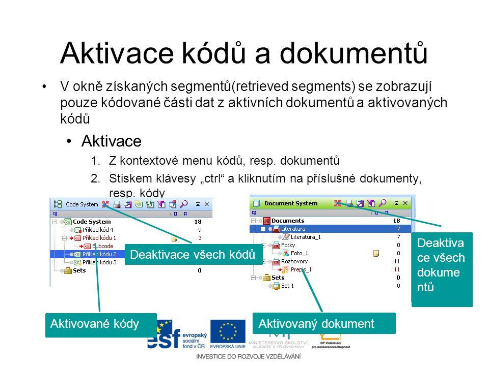 Aktivace kódů a dokumentů