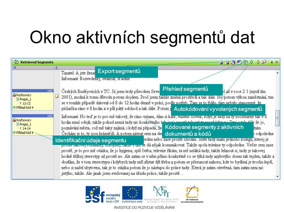 Okno aktivních segmentů dat