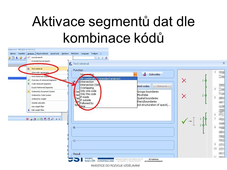 Aktivace segmentů dat dle kombinace kódů