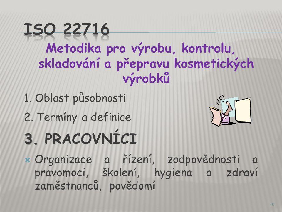 ISO 22716 Metodika pro výrobu, kontrolu, skladování a přepravu kosmetických výrobků. 1. Oblast působnosti.