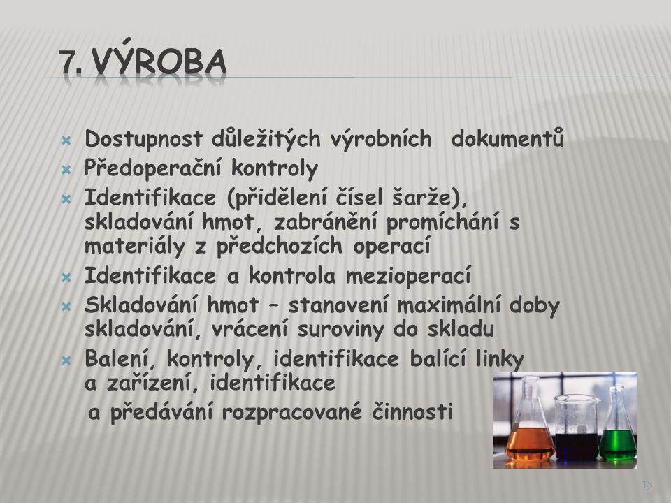 7. VÝROBA Dostupnost důležitých výrobních dokumentů