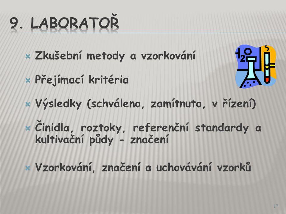 9. Laboratoř Zkušební metody a vzorkování Přejímací kritéria