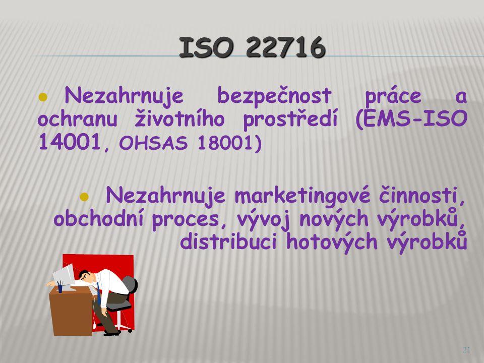 ISO 22716 Nezahrnuje bezpečnost práce a ochranu životního prostředí (EMS-ISO 14001, OHSAS 18001)