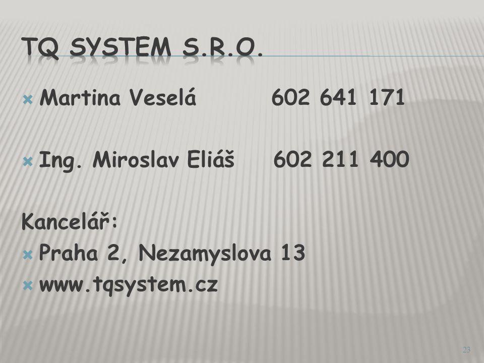 TQ System s.r.o. Martina Veselá 602 641 171
