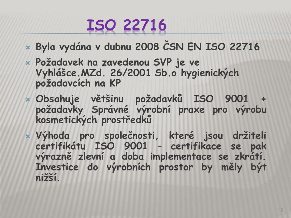 ISO 22716 Byla vydána v dubnu 2008 ČSN EN ISO 22716