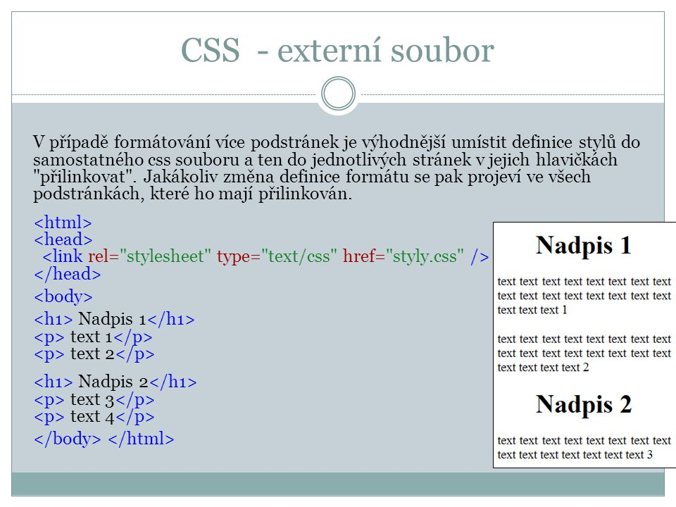 CSS - externí soubor