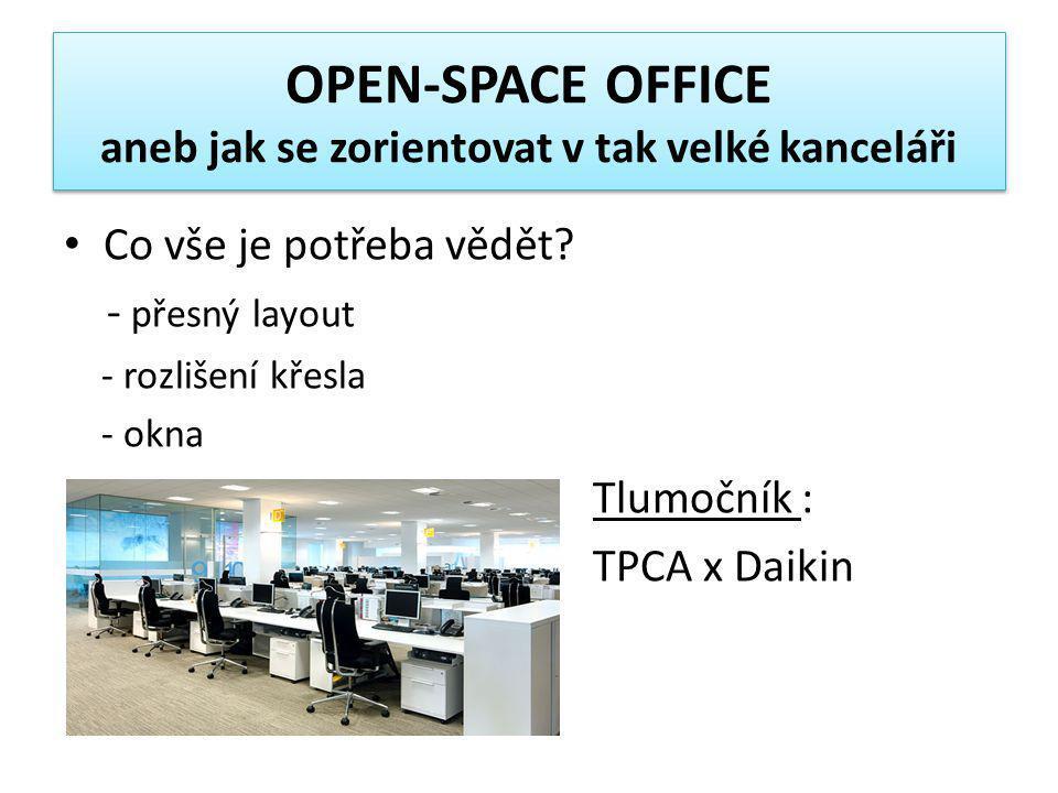 OPEN-SPACE OFFICE aneb jak se zorientovat v tak velké kanceláři