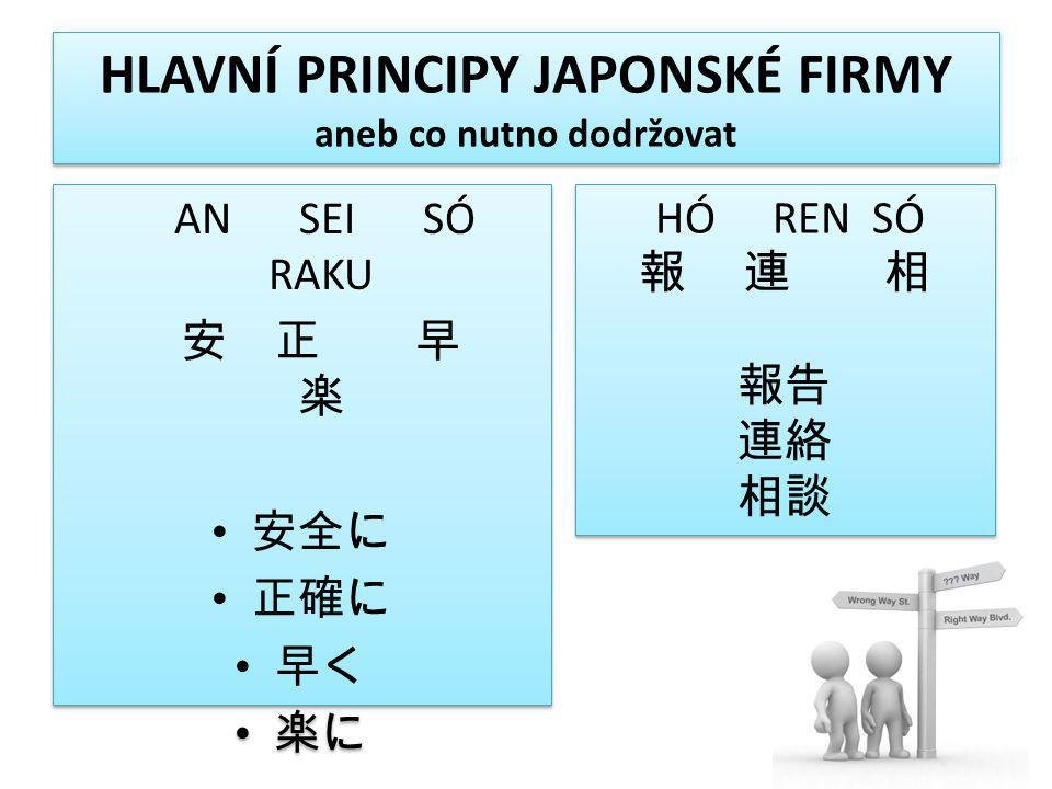 HLAVNÍ PRINCIPY JAPONSKÉ FIRMY aneb co nutno dodržovat