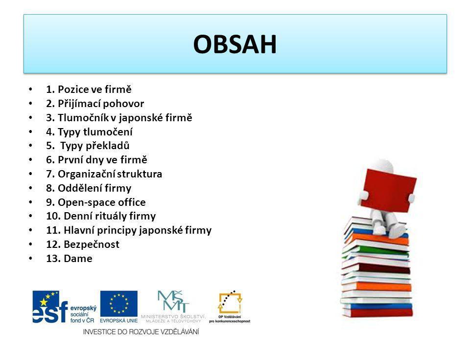 OBSAH 1. Pozice ve firmě 2. Přijímací pohovor