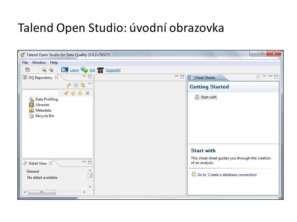 Talend Open Studio: úvodní obrazovka