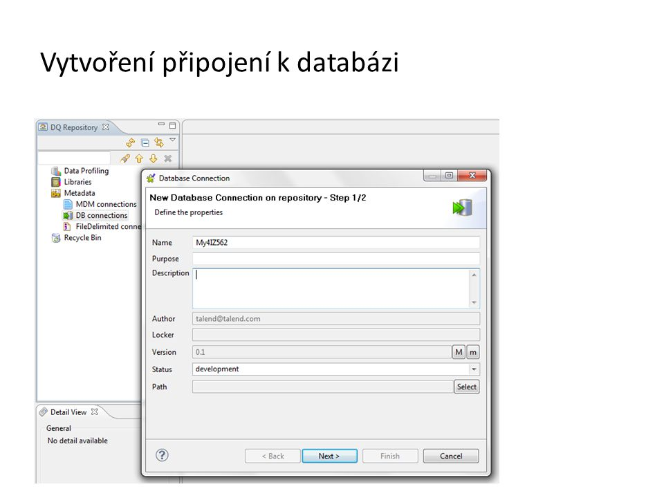 Vytvoření připojení k databázi