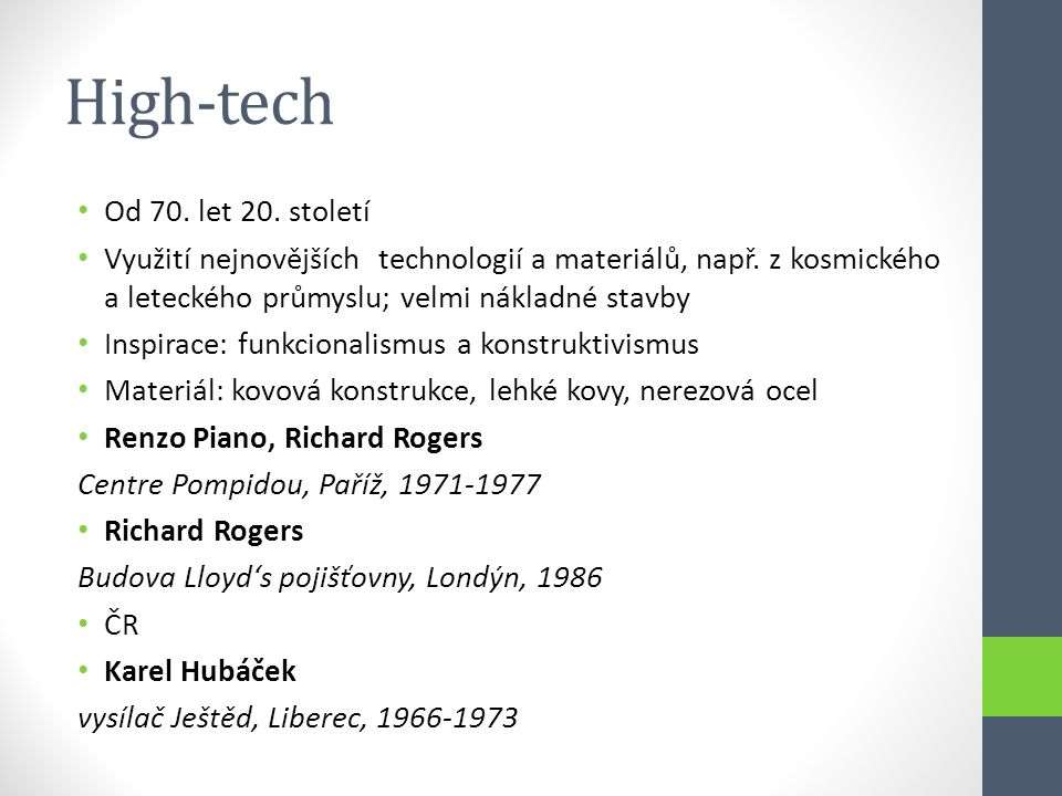 High-tech Od 70. let 20. století